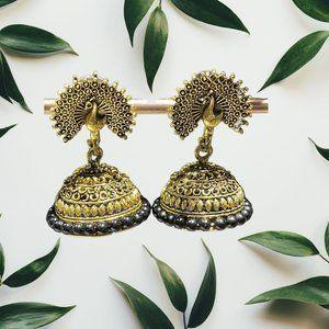 Ethnic Elegant Peacock Black & Gold Danglers